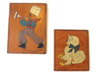 Vintage Wooden Folk Art Plaques, 50s Puss N Boots, Card Playing Kitty, Carved Plaques, Wood Burning, Baby Childs Room, Jackpot Jen