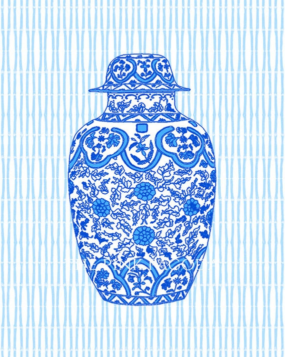 SALE Blue Ming Chinoiserie Ginger Jar Giclee 13x19