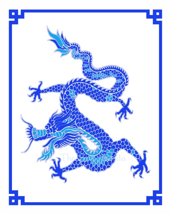 SALE Cobalt Blue Chinese New Year Dragon Giclee 11x14