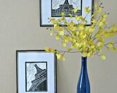 Paris Eiffel Tower Original Linocut Print Black and White
