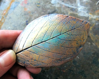 Barrette Alder Leaf Impression in Clay in Gold, Turquoise, and Copper Colors on Medium French Style Clip