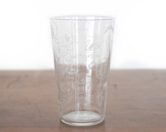Vintage British pint glass, Elizabeth R coronation, etched seals of pubs, clubs, breweries, beaker, beer glass, 1960s barware, England, UK