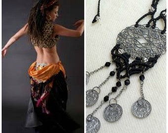 Black and silver belly dance necklace - gypsy ethnic tribal dance hippie jewelry tagt team
