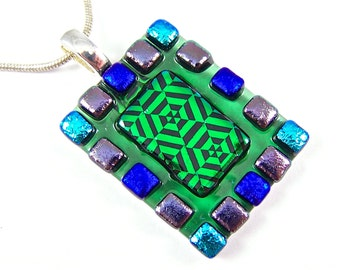 "Dichroic Pendant - Green Blue Teal Purple Squares Patterned Dichro Rainbow 1.25"" 30mm Clear Turquoise Stained Glass Dots Mosaic Frame"