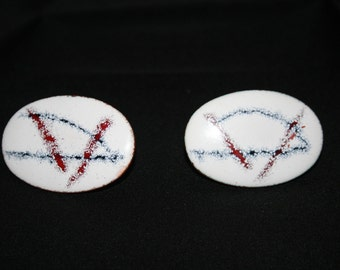 Mid Century Enamel and Copper Atomic Cuff Links