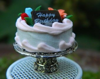 Fairy Cake  Miniature Birthday Cake On Plate Stand Dollhouse Accessories Fairy Garden Accessory