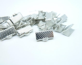 50pcs 12mm White K Ribbon Ends Fastener Clasps
