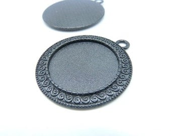 10pcs 34mm-25mm Black Round Cameo Cabochon Base Setting Tray Blank Pendants Charm Pendant C8180