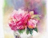 "PRINT- flower Watercolor painting 7.5 x 11"""