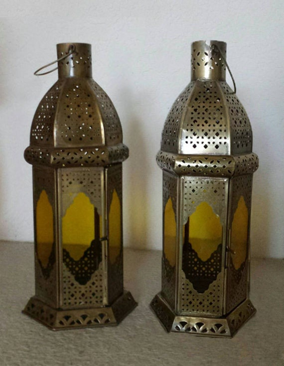 Set of antique gold lanterns wedding centerpiece moroccan