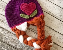 Anna Inspired Hat/ Crochet Anna Wig/ Available in Newborn to Child Size- MADE TO ORDER