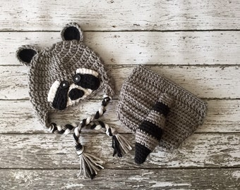 Little Mr. Raccoon Earflap Beanie and Marching Diaper Cover/ Raccoon Costume in Gray, Black and White Available in 5 Sizes- MADE TO ORDER