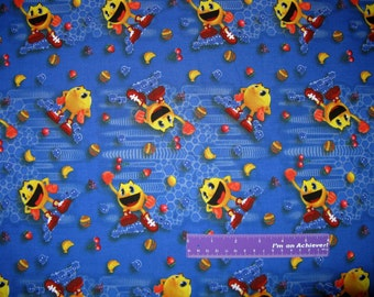 Pac-Man And The Ghostly Adventures Fruit Blue Cotton Fabric By The Half Yard