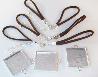 """10 Bracelet Kits - 25mm 1"""" Square Silver Plated Blank Bezel Tray and Brown Faux Suede Bracelet"""