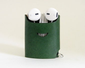 Smiling Earphone Case - Green - The Case with a Face - Leather Earphone Case / Earpod Case / Earphone Wrap / Earbud Organizer