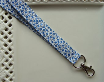 Fabric Lanyard - Tiny Blue Blooms on White