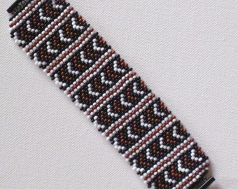 PRICE REDUCED Native American bead weaving bracelet in black, brown and white
