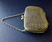 SALE Small Vintage Silver Mesh Purse Coin Wallet Pouch Boho Metal Bag 1960s 60s