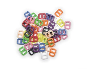 """50 Wide-Mouth Triglides, 3/8"""" (10mm) Ten Colors to Choose From.  Plastic."""