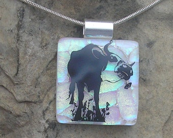 Bull Necklace Fused Dichroic Glass Cow Pendant