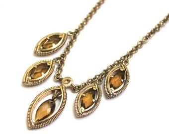 Amber Crystal Fringe Necklace in Gold Tone, Monet Designer Teardrop