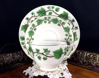 Crown Staffordshire - Green Ivy Tea Cup Trio - English Teacup Saucer and Side Plate J-186