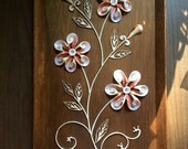 SeaShell Floral Sculpture Art in Wooden Box Vintage