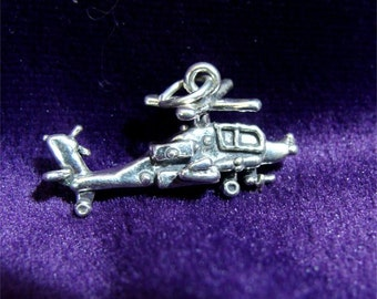 Black Hawk HELICOPTER Charm in STERLING SILVER