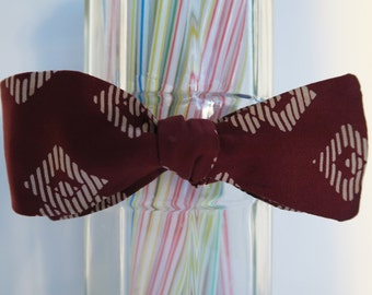 Burgundy Aztec Pattern Self Tie Bow Tie
