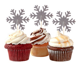 6 Glitter Silver or Gold Snowflake Cupcake Toppers, Frozen Birthday Party Decorations, Winter Wonderland - No1117