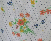 Vintage Mod Floral and Polka Dots Cotton Double Flat Sheet - Full Sheet - Bedsheet - Bedding - Linens - Cottage - Bedroom