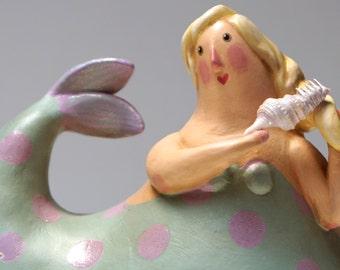 The Sea is Calling, I Must Go - Lovely Mermaid Gourd Sculpture ooak