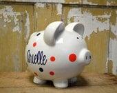 White Large Ceramic Piggy Bank - Personalized