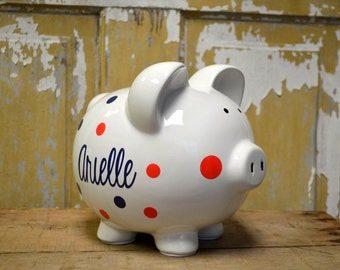 White Large Ceramic Piggy Bank - Personalized