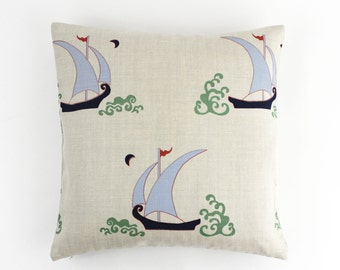 Katie Ridder Beetlecat Knife Edge Pillows in Lavender on Linen (Comes in 3 Colors)