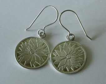 Large Handcrafted Sterling Silver Earrings with Cheerful Etched Daisy Design