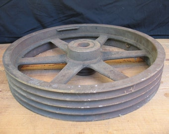 "Industrial Vintage Iron Wheel - Grooves for 4 belts - Large 19"" diameter"