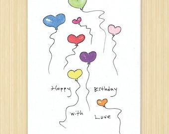 Happy Birthday card, Happy Birthday With Love, handmade greeting card