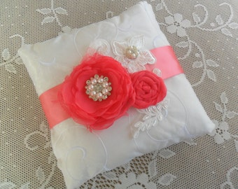Bridal Pillow, Ring Bearer Pillow, Coral Ring Pillow, Wedding Ring Pillow, Lace Ring Pillow, YOUR CHOICE COLOR, Floral Wedding Pillow