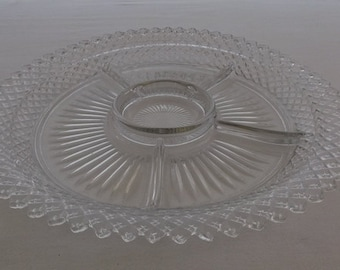 Vintage Relish Tray, Pressed Glass Dish, Clear Divided Serving Platter, Diamond Pattern Sawtooth Edge