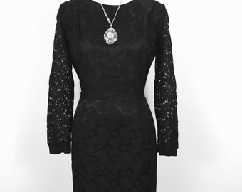 Film Noir 60's Black Satin Lace Arms Wiggle Dress S/M