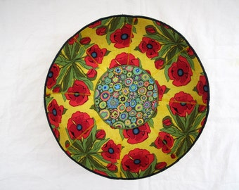 Farm Kitchen Red Flowers fabric bowl