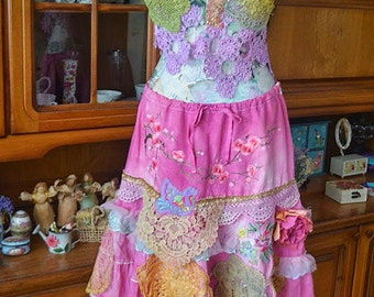 Romantic skirt ,shabby chic,victorian,gypsy,fairy,Upcycled skirt,altered couture , embellished vintage ,wearable art skirt Summer Garden