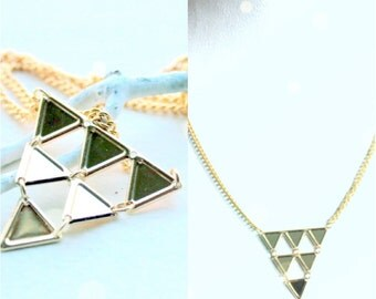 six triangle necklace in gold