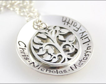 Large Tree of Life Sterling Silver Necklace | Personalized Grandma Jewelry with Children's Names