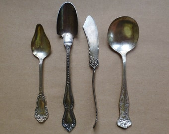 Silverplate Sugar Cheese Scoop, Jam Jelly Spoon, Soup Spoon, Butter Knife. Lot Vintage Antique Silver Plate Flatware. Rogers, Benedict.