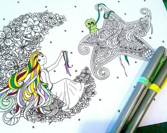 Adult Coloring Page Girl and Monster Moon and Star Printable Drawing Kids Art Activity Flower Design