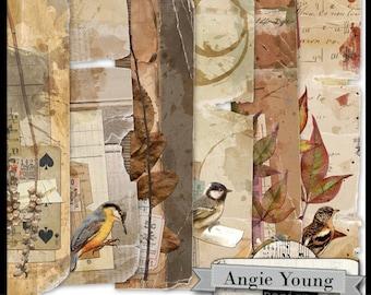 digital collage sheet page edges printable elements art supplies art journal journaling mixed media vintage collage it borders set #4