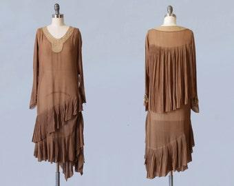 1920s Dress / 20s Coffee Chiffon CAPE Back Flapper Dress / Mushroom Pleating / Tiered Asymmetrical Fishtail Cascading Hem /  Lace Yoke