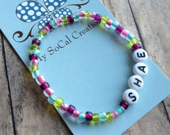 Personalized Name Bracelet-Beaded Stretch Bracelet-Czech Glass Beads-White Letter Beads-Any Name-Any Word-Any Phrase-Lavender&Green Mix